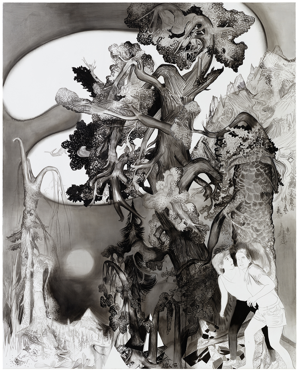 Susanne Kühn, 2018, Girls hiking, 250 x 190 cm, mixed media on canvas