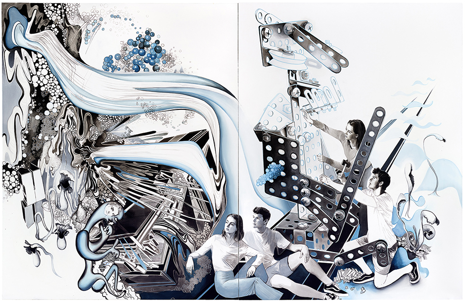 ROBOTA II - on the occasion of the exhibition BOSCH & KÜHN, 2019, 250 x 390 cm, mixed media on canvas, two-parts