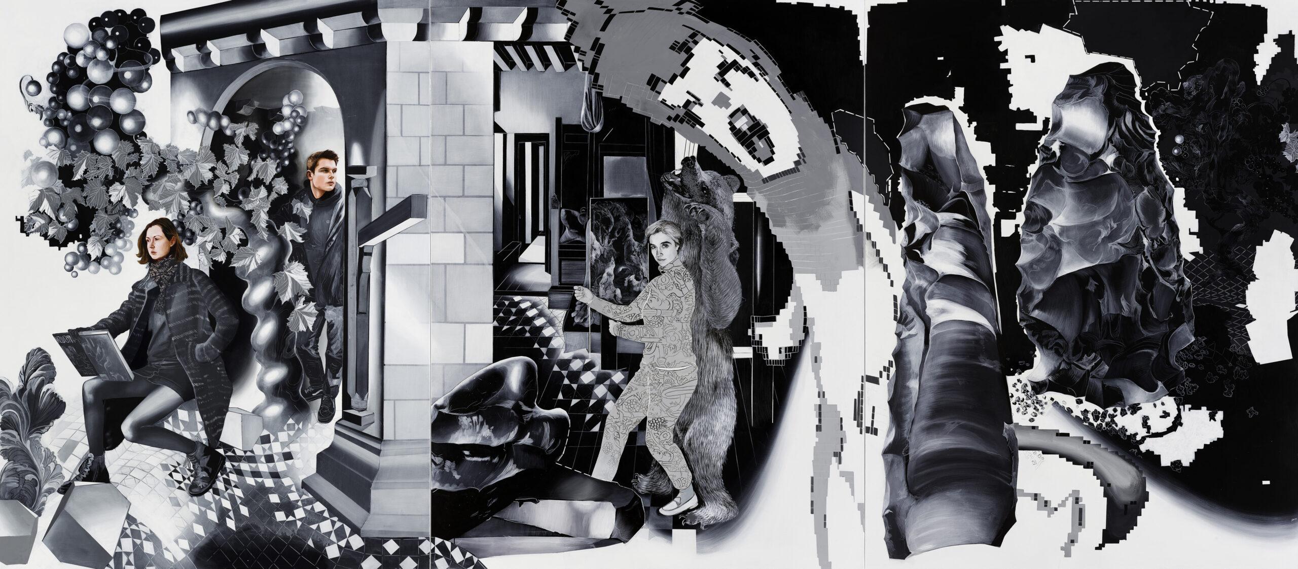 Cyber Mom Wave, 2020, 250 x 570 cm, acrylics on canvas Susanne Kühn